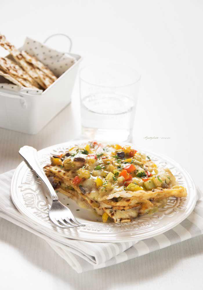 lasagnette di pane azzimo con verdure