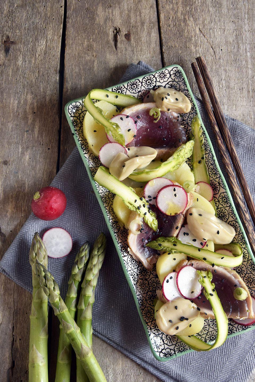Insalata di patate e tonno scottato