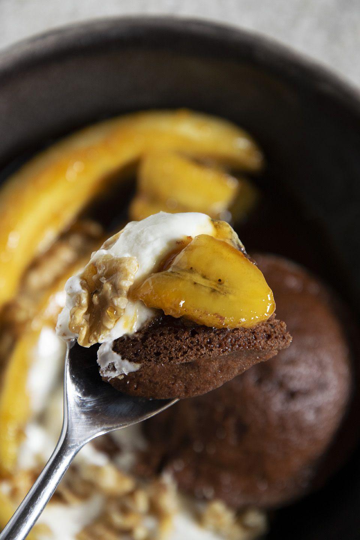 Dessert cioccolato e banane